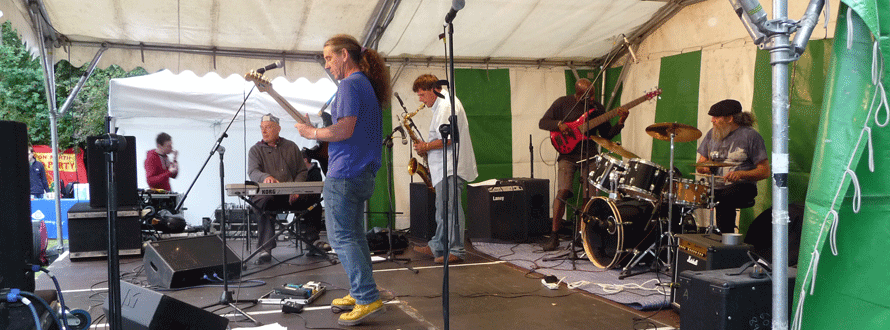 a brilliant band on stage at Gillespie Festival